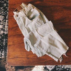 Vintage light wash distressed high rise mom jeans